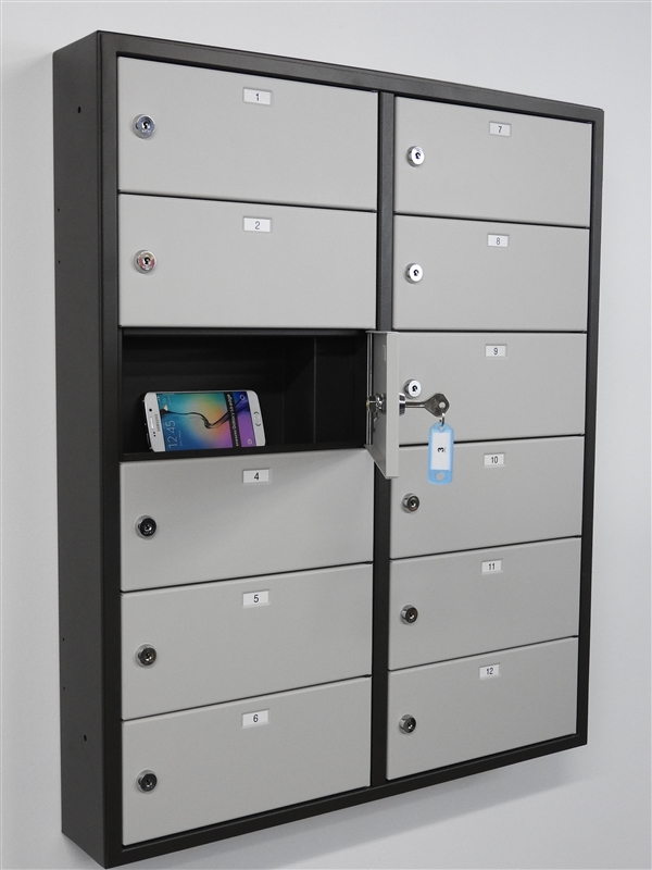 Larger Photo Email A Friend & Snapchargeâ\u201e¢ Cell Phone Locker (12 doors) | Precision Locker Company
